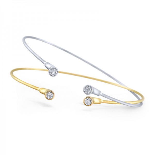 14K Gold and Diamond Two Stone Bangle