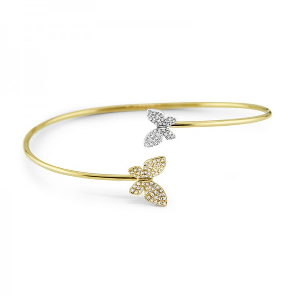 14K Diamond Double Butterfly Bangle, Two Tone