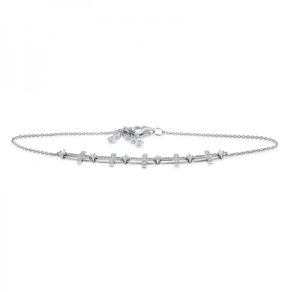 14K Diamond Multi Cross Line Bracelet