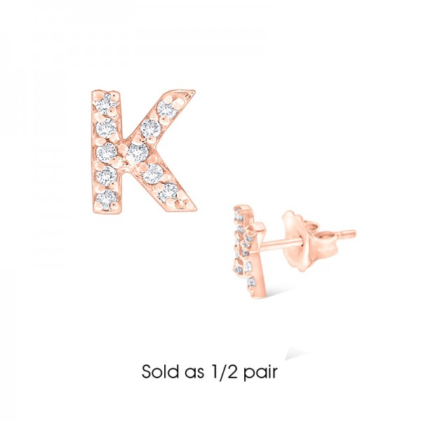 Diamond Single Initial K Stud Earring