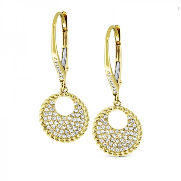 14K Diamond Circle Earrings