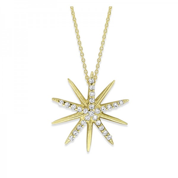 Diamond Starburst Necklace in 14K Yellow Gold with 26 Diamonds Weighing .14 ct tw