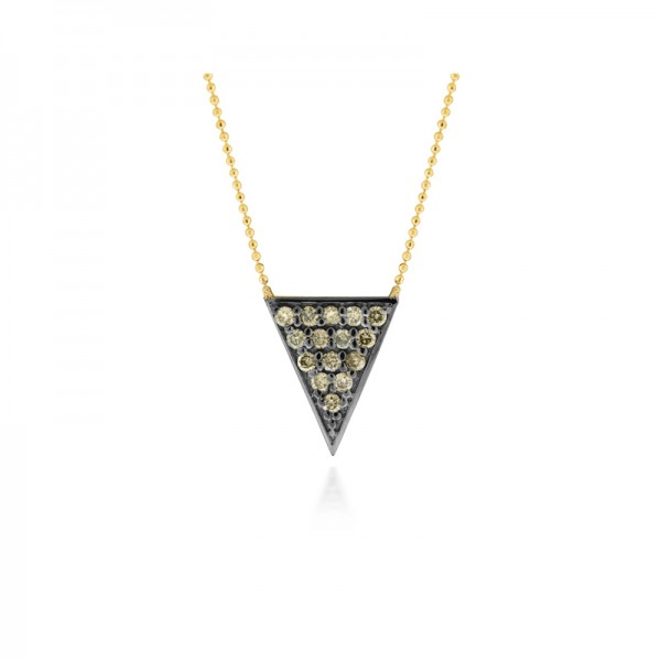 14K Champagne Diamond Triangle Necklace