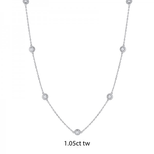 14K Gold Diamond by the Yard Necklace 1.05ct tw