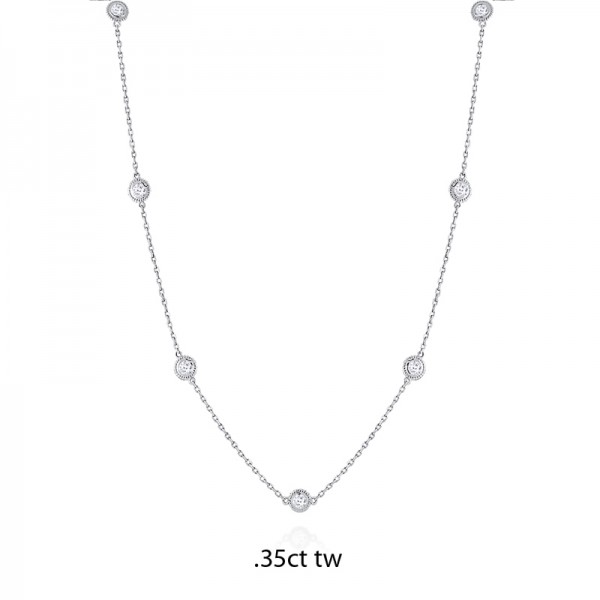 14K Gold Diamond by the Yard Necklace .35ct tw