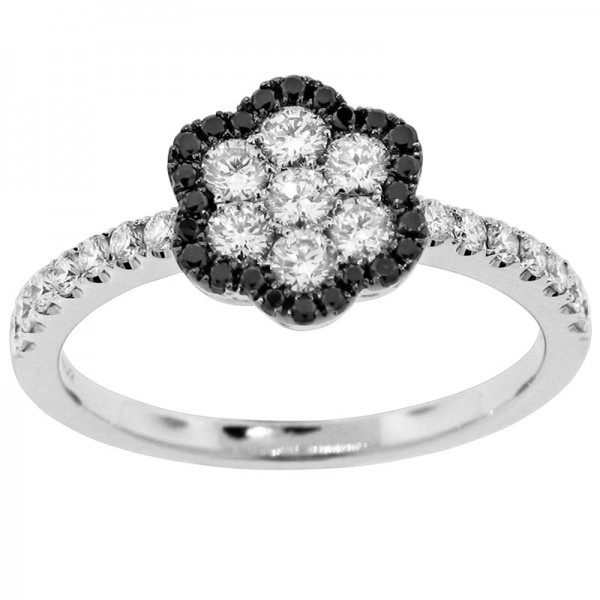 Black and White White And Black Diamond Ring R 5646-BD