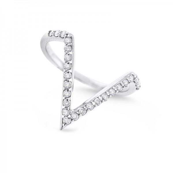 """Diamond Contemporary """"V"""" Ring in 14K White Gold with 25 Diamonds Weighing .25ct tw"""