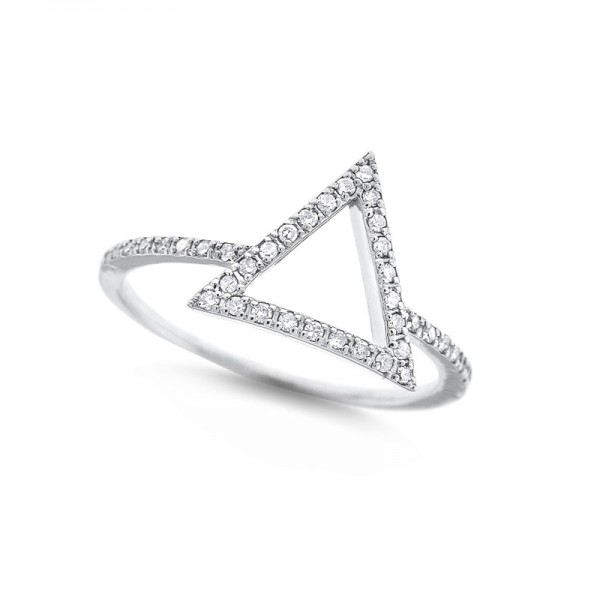 Diamond Open Triangle Ring in 14K White Gold with 40 Diamonds Weighing .15ct tw