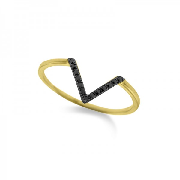 "Black Diamond Mini ""V"" Ring in 14K Yellow Gold with 13 Diamonds Weighing .06 ct tw"