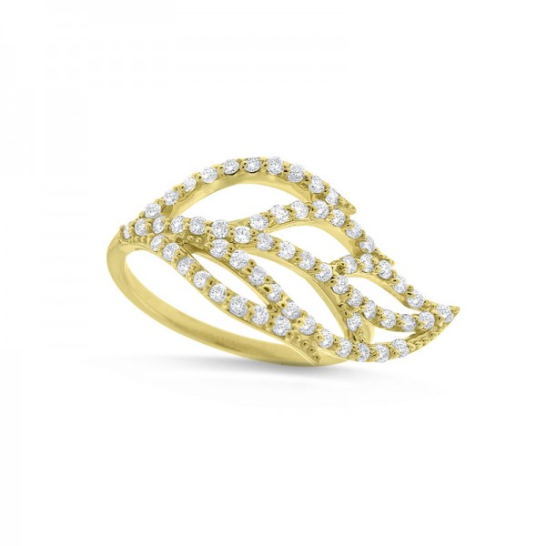 Diamond Leaf Ring in 14K Yellow Gold with 60 Diamonds Weighing .60 ct tw