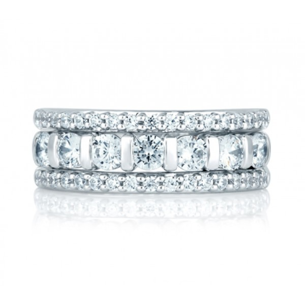 Three Row Prong Set Anniversary Ring