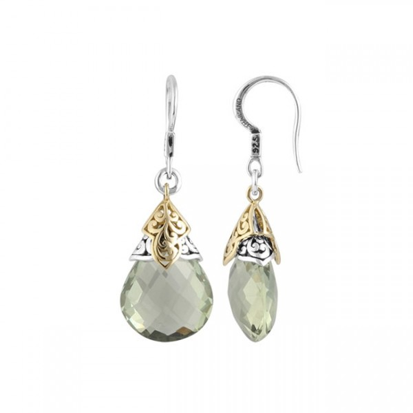 18K & Sterling Silver, Green Quartz Gemstone Earrings