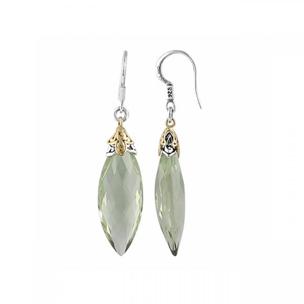 18K Gold & Sterling Silver, Green Quartz Earrings