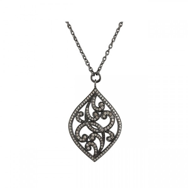 Brown Diamonds, Open Scroll Large Pendant Necklace