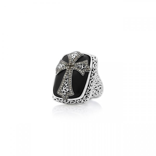 Large Cross Brown Diamond, Matte Black Onyx Cocktail Ring