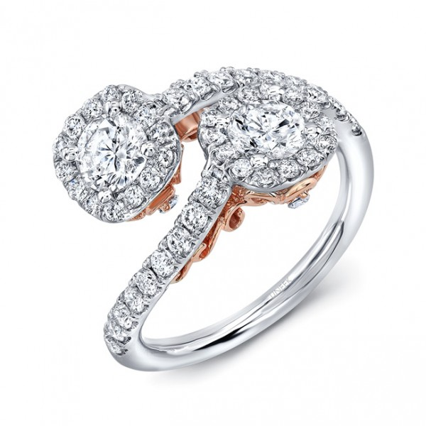 "Uneek ""Fiorire"" Two-Stone Diamond Ring with Cushion Halos and Pave Shank in 14K White Gold, and Unde"