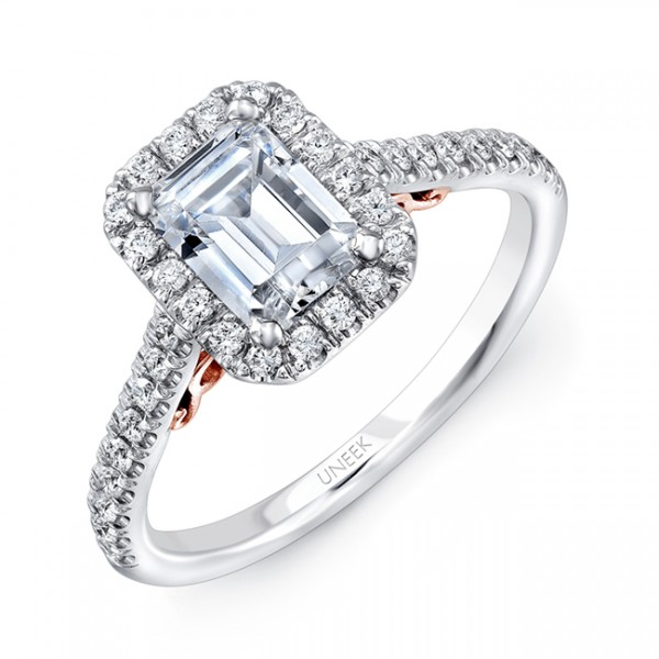 """Uneek """"Fiorire"""" Emerald-Cut Diamond Halo Engagement Ring with Pave Shank in 14K White Gold, and Unde"""