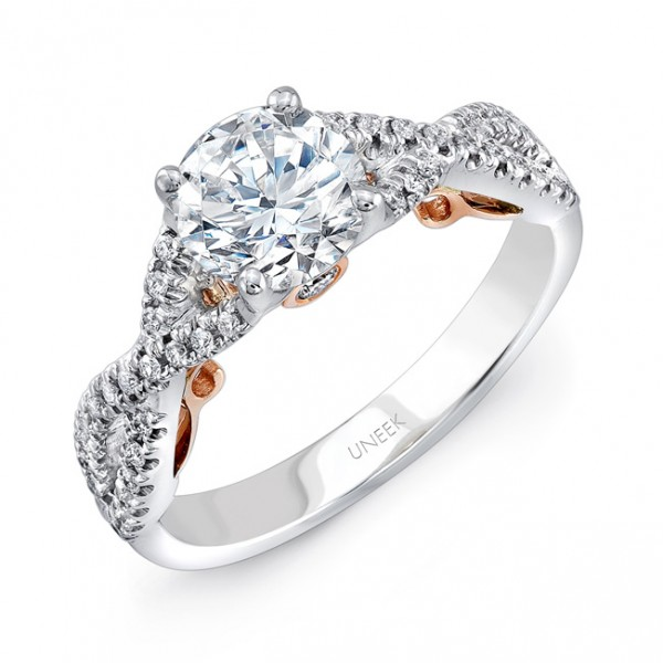 """Uneek """"Paradiso"""" Round Diamond Engagement Ring with Pave Infinty/Crisscross Shank in 14K White Gold,"""