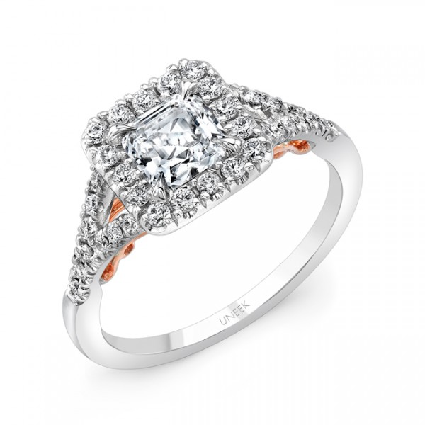 """Uneek """"Cancelli"""" Princess-Cut Diamond Halo Engagement Ring with Pave Split Shank in 14K White Gold,"""