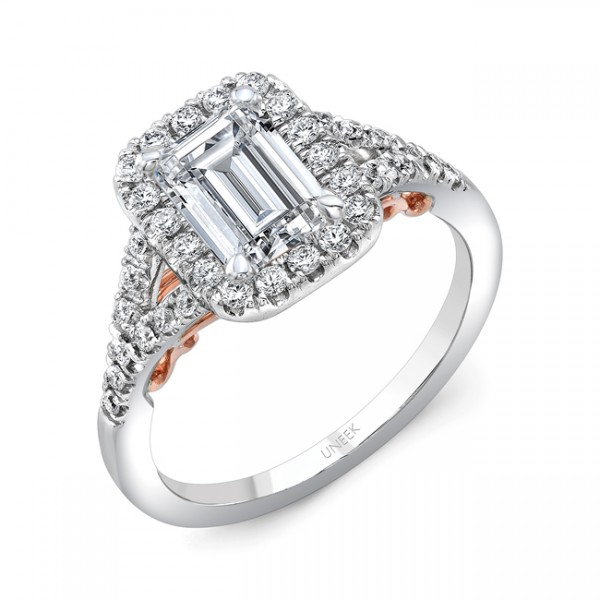 """Uneek """"Cancelli"""" Emerald-Cut Diamond Halo Engagement Ring with Pave Split Shank in 14K White Gold, a"""