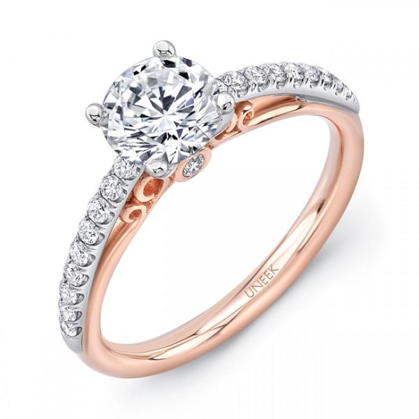 """Uneek """"Naiade"""" Round Diamond Engagement Ring with Pave Upper Shank in 14K White Gold, and Dramatic U"""
