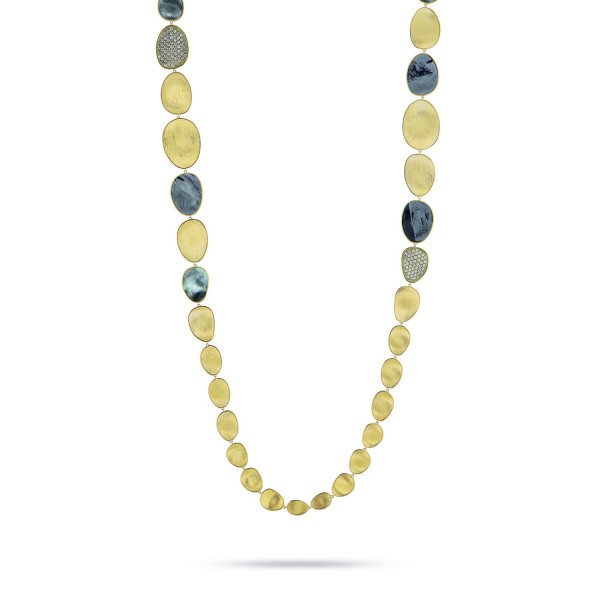 Lunaria 18K Yellow Gold and Diamond Black Mother of Pearl Necklace