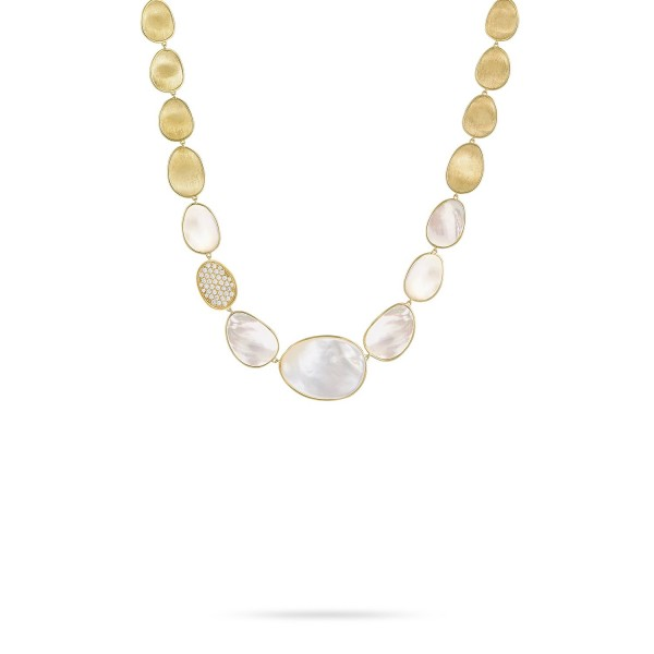 Lunaria 18K Yellow Gold and Diamond White Mother of Pearl Collar