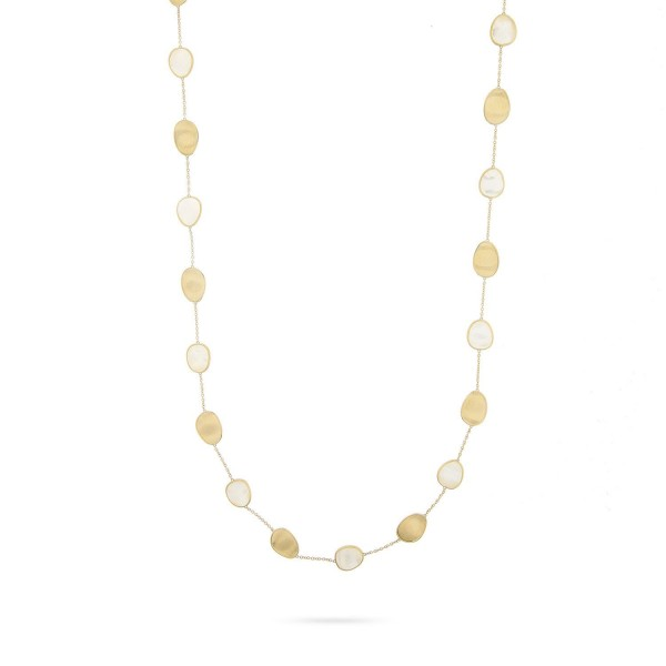 Lunaria 18K Yellow Gold White Mother of Pearl long Necklace