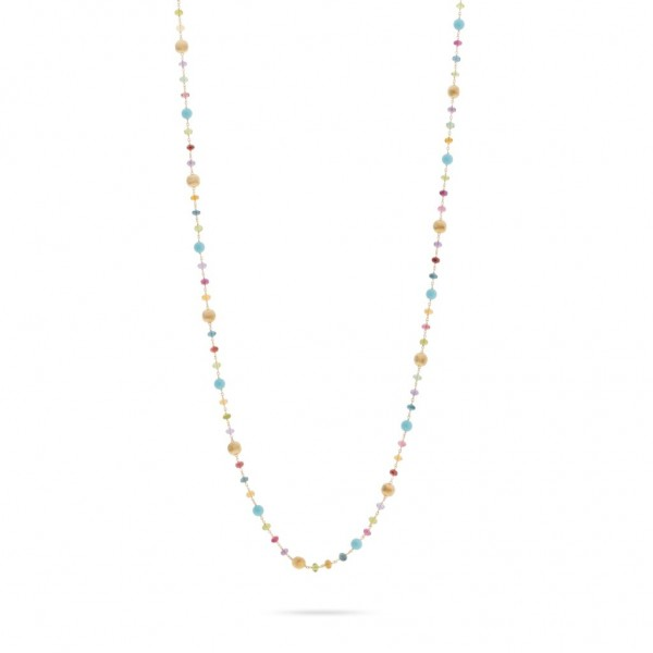 Africa Gemstone 18K Yellow Gold Mixed Gemstone and Turquoise Long Necklace