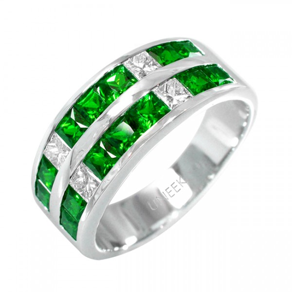Uneek Retro-Inspired Princess-Cut Emerald and Diamond Band in 18K White Gold