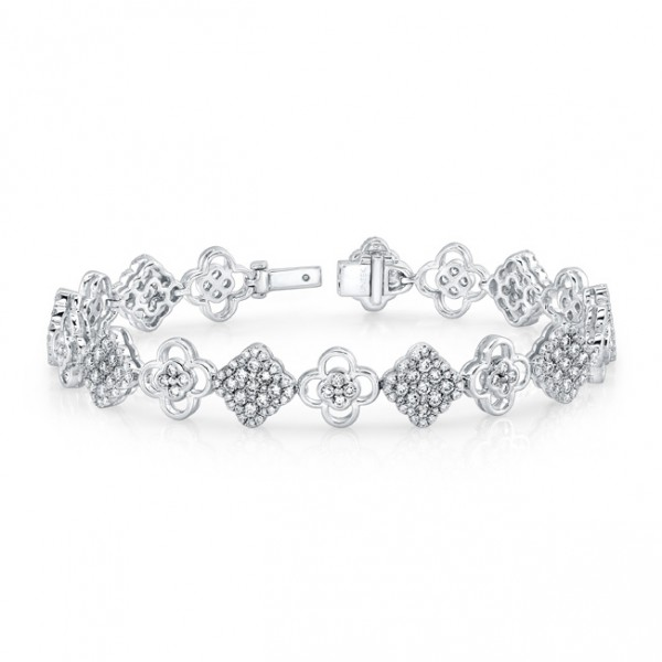 Uneek Diamond Cluster Bracelet with Floral Motif Links, in 14K White Gold