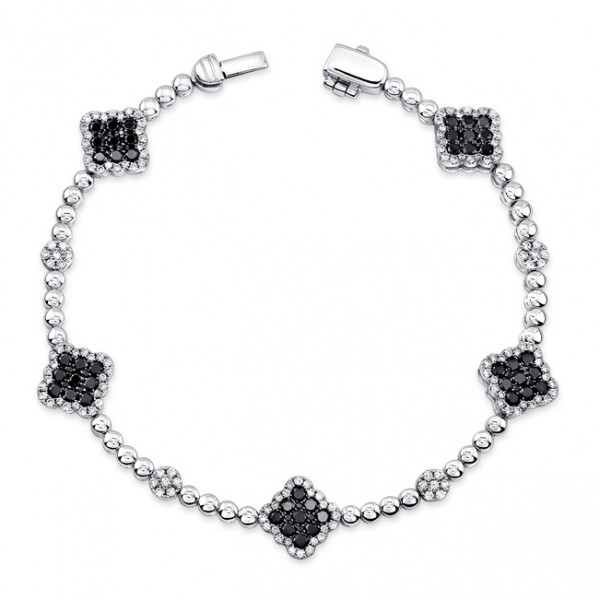 Blak Collection Black and White Diamond Bracelet LVBR02BL