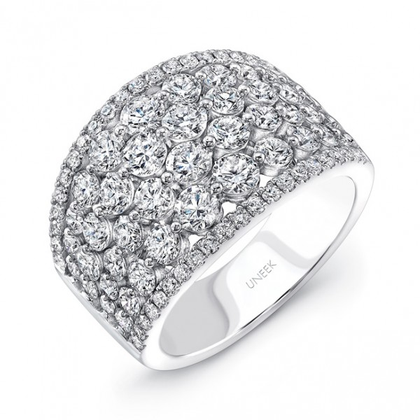 "Uneek ""Frivolite"" 6-Row Diamond Band with Pave Edges, in 14K White Gold"