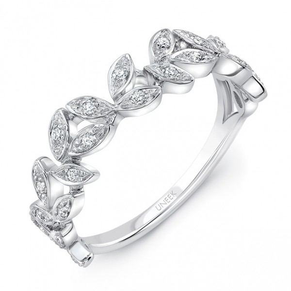 "Uneek ""Vine"" Stackable Diamond Band in 14K White Gold"