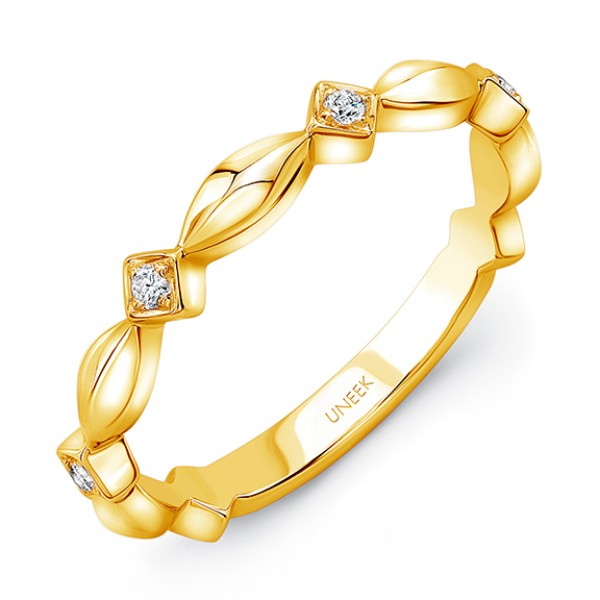 "Uneek ""Gower"" Stackable Diamond Band in 14K Yellow Gold"