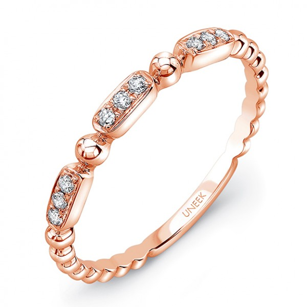 "Uneek ""Rodeo"" Stackable Diamond Band in 14K Rose Gold"
