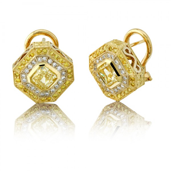 Natureal Collection Radiant Yellow and White Diamond Earrings LVE056