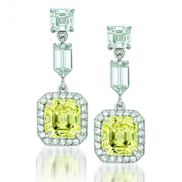 Natureal Collection Platinum and 18K Yellow Gold Asscher Yellow Diamond Earrings LVE102