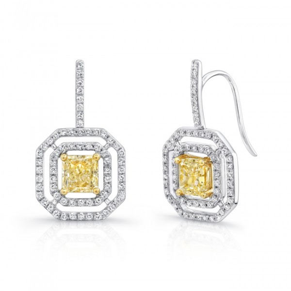"Uneek Radiant Cut Yellow Diamond Drop Earrings with Geometric ""Floating"" Halos, in 18K White and Yel"