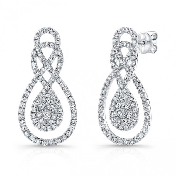 Bouquet Collection 14K White Gold Infinity Diamond Earrings LVE276