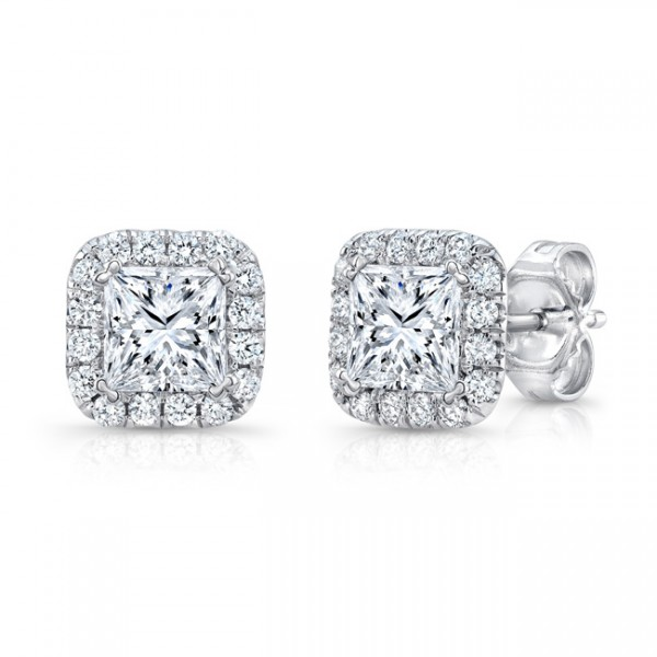 Uneek Princess-Cut Diamond Halo Stud Earrings in 14K White Gold