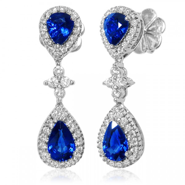 Uneek Royalty-Inspired Blue Sapphire Double Teardrop Dangle Earrings with Pave Diamond Halos and Flo