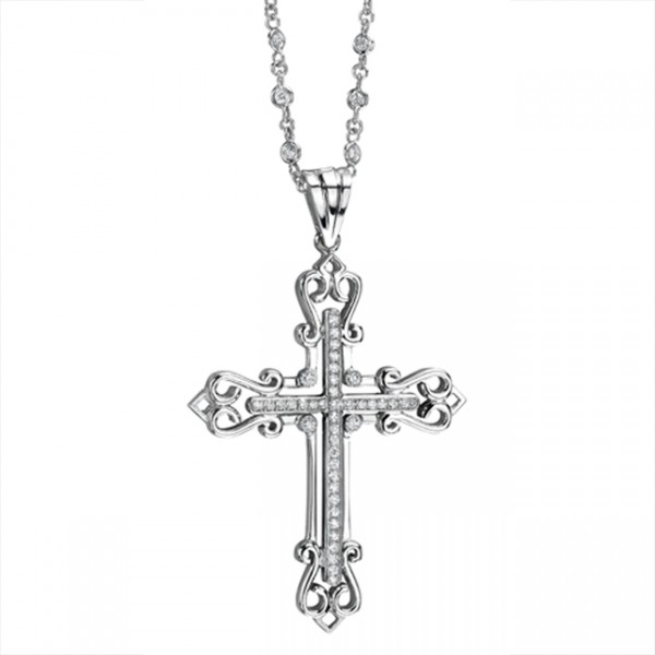 Uneek 18K White Gold Round Diamond Cross Pendant LVN367