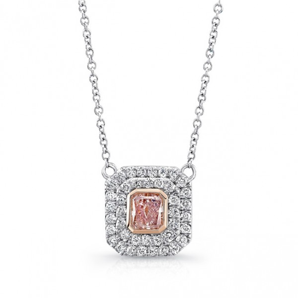 Uneek Radiant-Cut Pink Diamond Double Halo Pendant, in Platinum and 18K Rose Gold