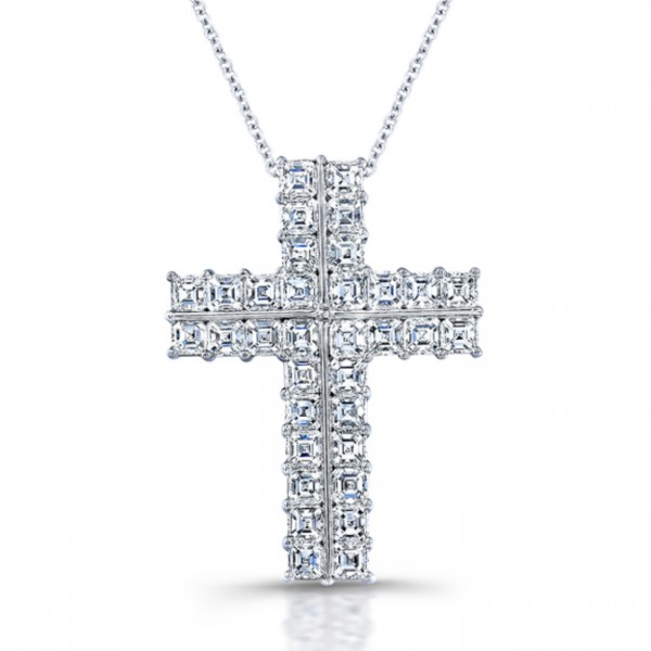 Uneek Platinum Asscher Diamond Cross Pendant  LVN611