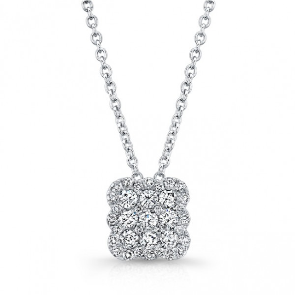 Bouquet Collection Diamond and 14K White Gold Cushion Shaped Pendant LVN667