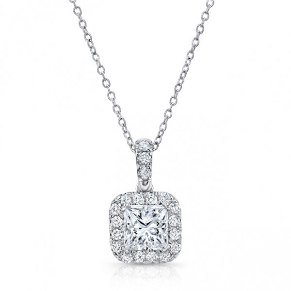 Uneek Princess-Cut Diamond Halo Pendant in 14K White Gold