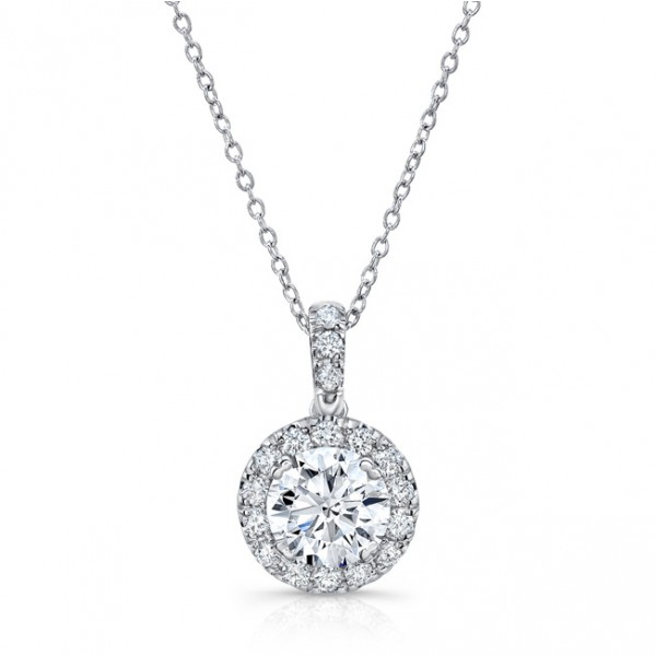 Uneek Round Diamond Halo Pendant 14K White Gold