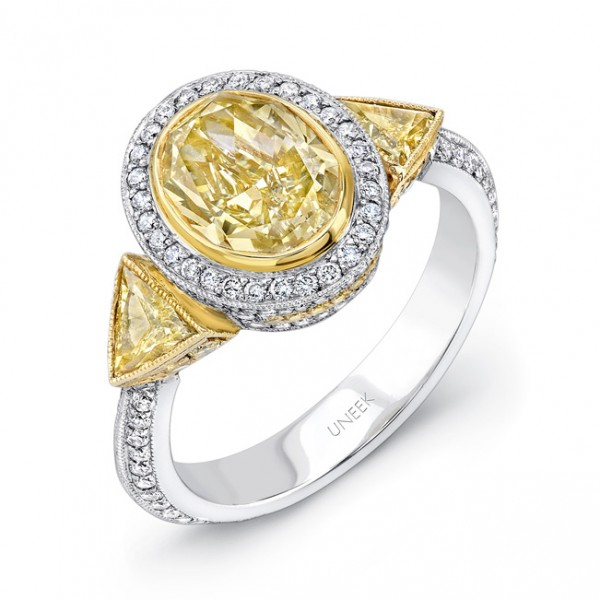 Uneek Natureal Yellow Oval Shape Diamond Engagement Ring LVS398