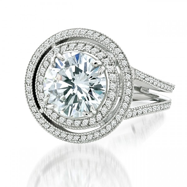 Signature Collection Platinum Round Diamond Engagement Ring LVS445